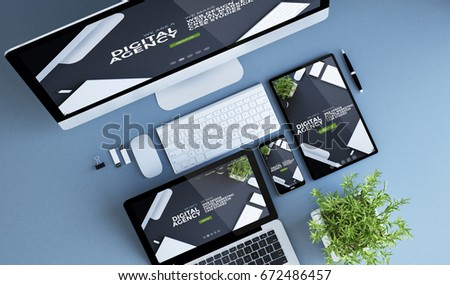 blue devices top view digital agency 3d rendering