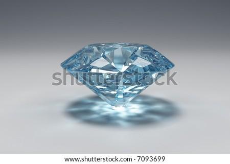 Blue diamond - stock photo