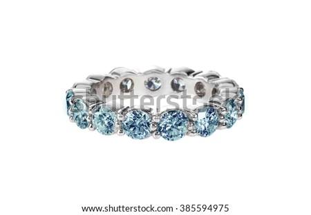 Blue diamond anniversary wedding band ring isolated on white - stock photo