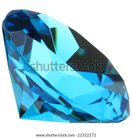 Blue diamond isolated on white - stock photo