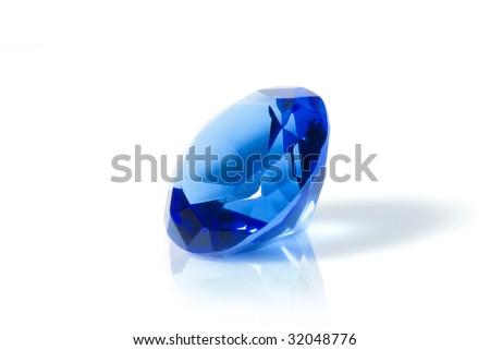blue diamond isolated on white - stock photo