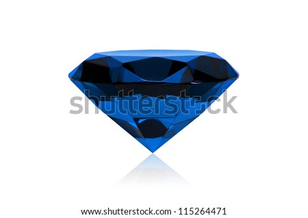 Blue diamond isolated on white background. Concept most precious beauty. - stock photo