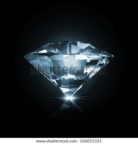 Blue Diamond on black background with glowing rays - stock photo