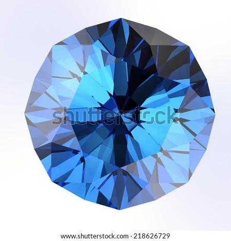blue diamond on white background - stock photo