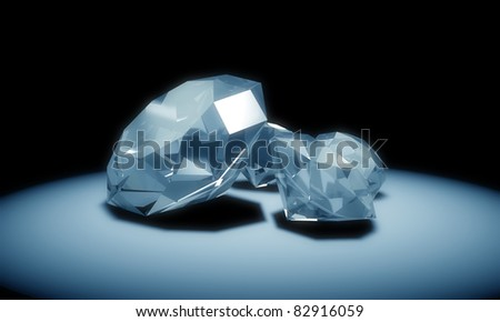 Blue diamonds - stock photo