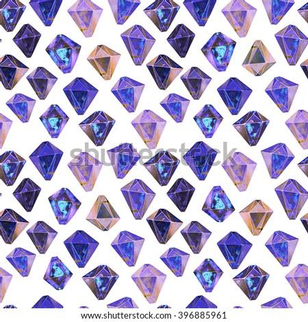 Blue diamonds. Watercolor illustration of crystals. Seamless gemstone pattern. - stock photo