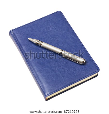 blue diary and a pen isolated on white background - stock photo