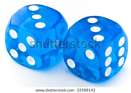 Blue dice - stock photo