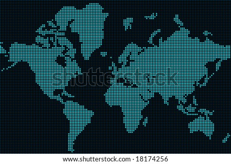 blue digital abstract earth map - stock photo
