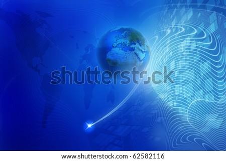 Blue digital background - Global internet concept - stock photo