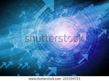 Blue digital background image with globe and map - stock photo