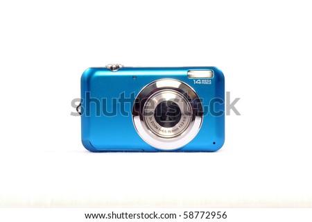 Blue Digital Camera - stock photo