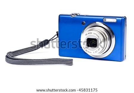 Blue Digital Camera Isolated on White - stock photo