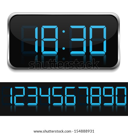 Blue digital clock - stock photo