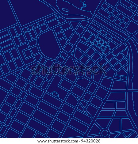 Blue digital map of a generic urban city - stock photo