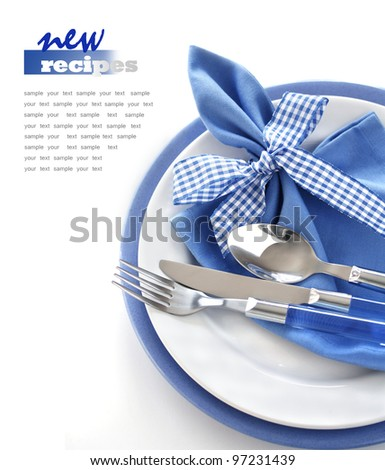 Blue dinner set - stock photo
