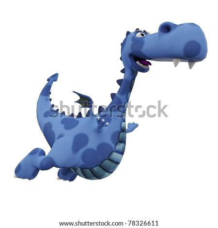 blue dino dragon baby flying away - stock photo