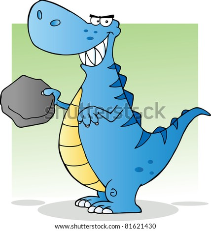 Blue Dinosaur Cartoon Character.Raster illustration. Vector version is also available - stock photo