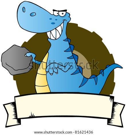 Blue Dinosaur With Blank Sign Board.Raster illustration. Vector version is also available - stock photo