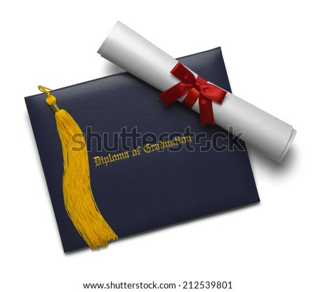 Blue Diploma Cover with Rolled Degree and Gold Tassel Isolated on White Background. - stock photo