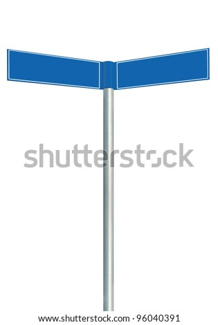 Blue direction road signs, two empty blank signpost signage, isolated directional roadside guidepost pointer copy space, white frame, light grey pole post