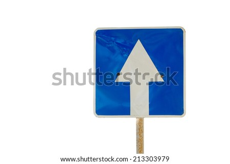 Blue directional road sign isolated - stock photo