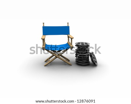 Blue Director chair - stock photo