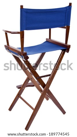 blue directors chair isolated on a white background - stock photo