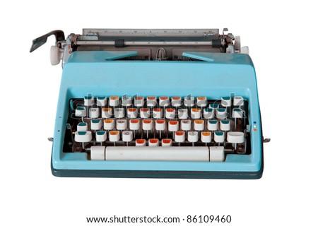 Blue dirty Retro typewriter isolated  on white - stock photo