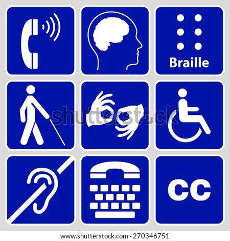 blue disability symbols and signs collection, may be used to publicize accessibility of places, and other activities for people with various disabilities - stock photo