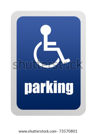 Blue Disabled parking sign on white background, Illustration - stock photo