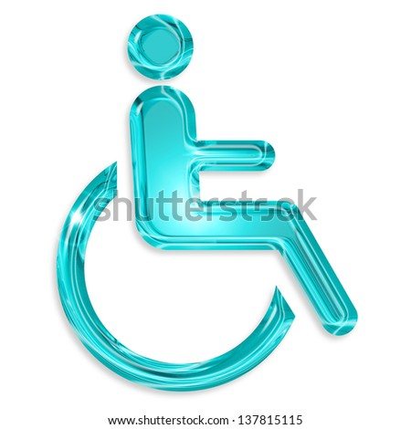 blue disabled symbol isolated on white background - stock photo