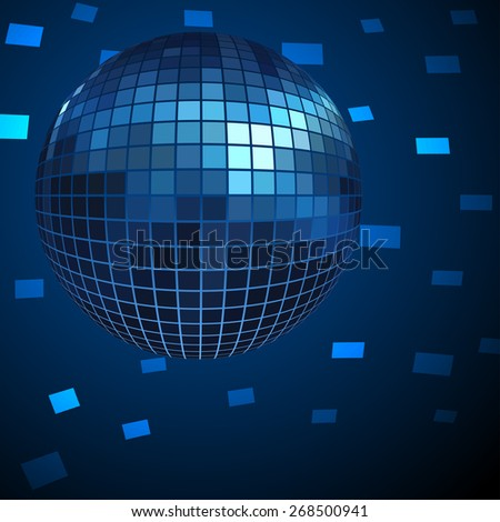 Blue Disco ball background. - stock photo