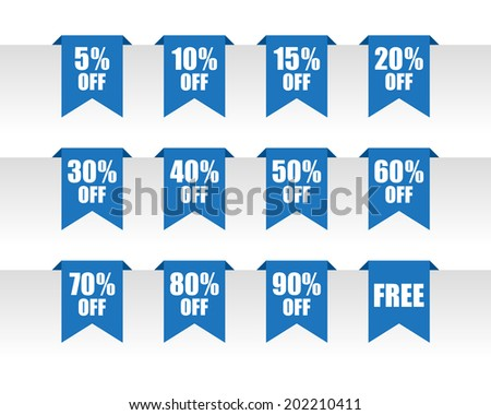 Blue discount paper tag labels. Vector available.