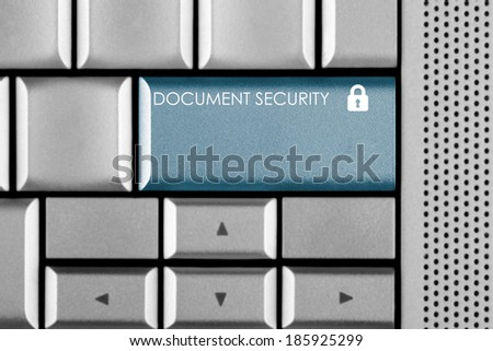 Blue Document Security key on a computer keyboard with clipping path around the Document Security key - stock photo