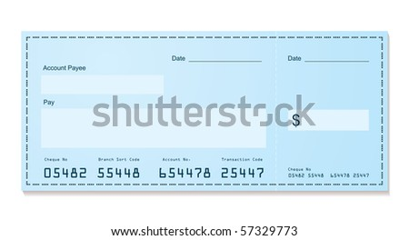Blue dollar old style bank cheque blank for your business - stock photo