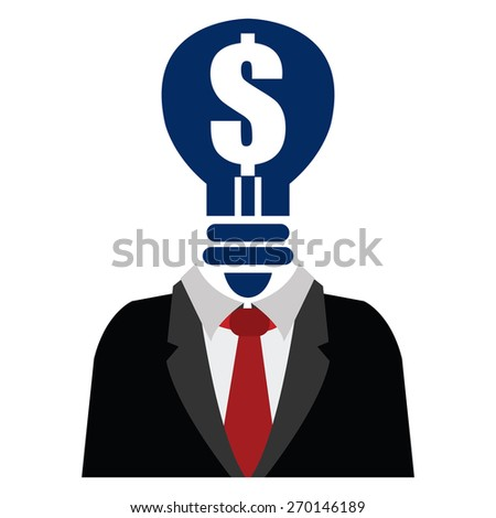 Blue Dollar Sign Light Bulb Head Businessman Isolated on White Background - stock photo
