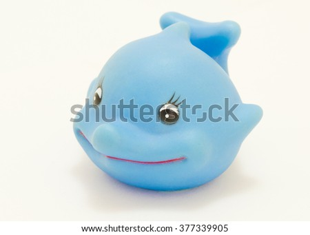 Blue Dolphin Marine rubber toy. Beautiful smiling