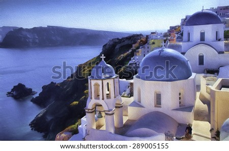 Blue Domed Buildings in Oia on the Hillside of Santorini, Greece - stock photo