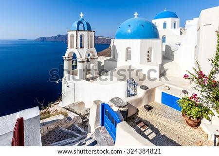 Blue domes in Oia, Santorini Island, Greece - stock photo