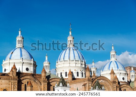 Blue domes of the cathedral in Cuenca, Ecuador - stock photo