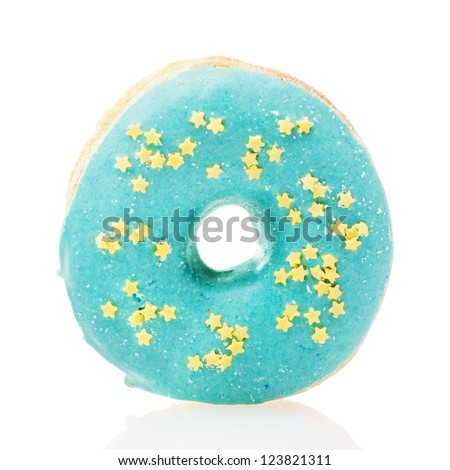 Blue donut with yellow stars isolated on white background - stock photo