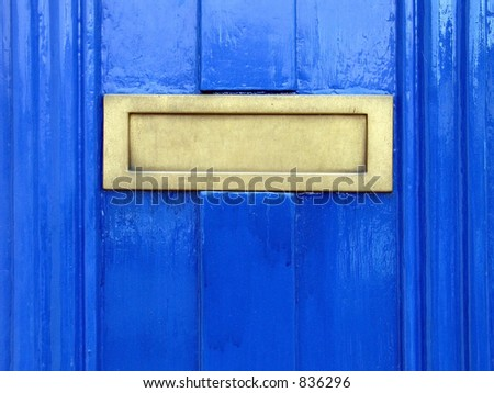 Blue door detail - stock photo