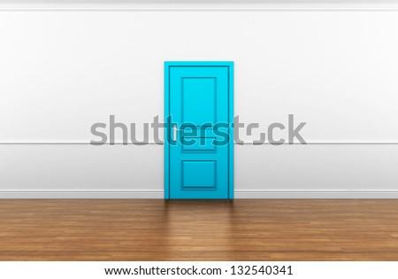 blue door in the interior - stock photo