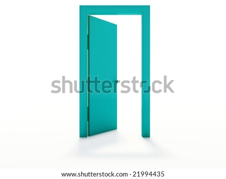 Blue door isolated on white - stock photo