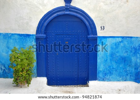 Blue Door, Tangier - stock photo