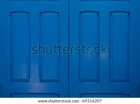 Blue door without bolt. - stock photo