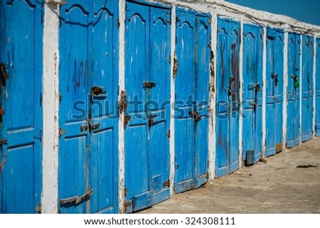 blue doors in essaouira - stock photo