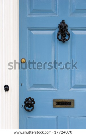 Blue doors, Lavenham, Suffolk, England - stock photo