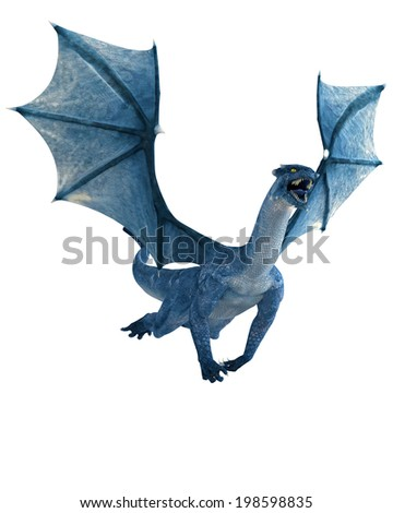 blue dragon flying - stock photo